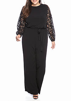 Michael by Michael Kors Plus Size Lace Sleeve Jumpsuit