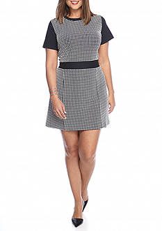 MICHAEL Michael Kors Plus Size Gingham Textured Dress