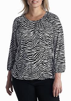 MICHAEL Michael Kors Plus Size Zebra Print Scoopneck Top