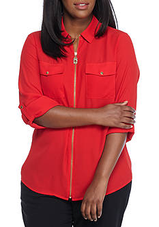 MICHAEL Michael Kors Plus Size Collar Zip Blouse