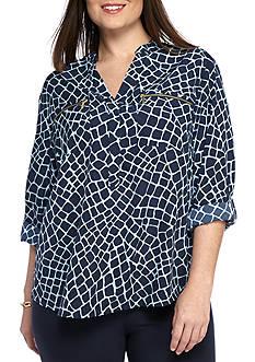 MICHAEL Michael Kors Plus Size Zip Pocket Top