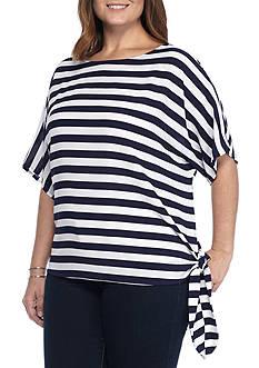 MICHAEL Michael Kors Plus Size Striped Side Tie Top