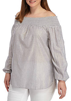 MICHAEL Michael Kors Plus Size Off the Shoulder Top