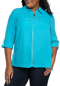 MICHAEL Michael Kors Plus Size Dog Tag Zip Top