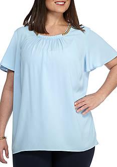 MICHAEL Michael Kors Plus Size Flutter Sleeve Top