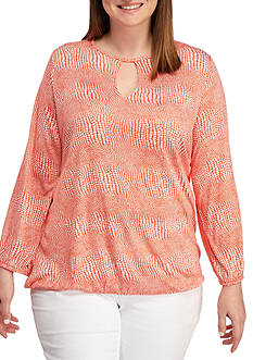 MICHAEL Michael Kors Plus Size Zephyr Peasant Top
