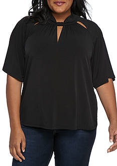 MICHAEL Michael Kors Plus Size 3 Key Hole Drape Shirt