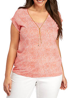 MICHAEL Michael Kors Plus Size Printed Chain Neck Tee