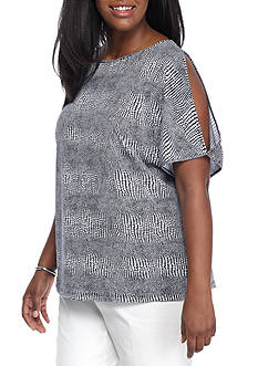 MICHAEL Michael Kors Plus Size Printed Slit Sleeve Top