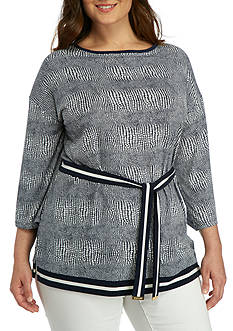 MICHAEL Michael Kors Plus Size Belted Boarder Tunic