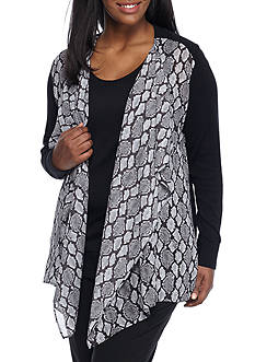 MICHAEL Michael Kors Plus Size Open Front Printed Cardigan