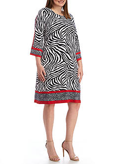 MICHAEL Michael Kors Plus Size A Line Border Dress