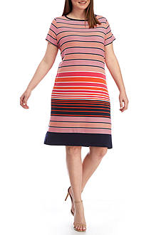 MICHAEL Michael Kors Plus Size Abbey Short Sleeve Boatneck Border Dress