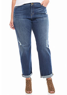 MICHAEL Michael Kors Plus Size Antique Wash Distressed Denim Jeans