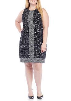 MICHAEL Michael Kors Plus Size Sleeveless Border Dress with Scoop Neckline