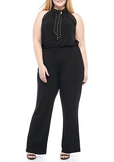 MICHAEL Michael Kors Plus Size Solid Stud Tie Jumpsuit