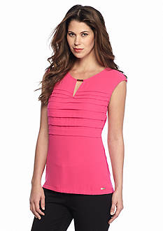 Calvin Klein Horizontal Pleat Mixed Media Top