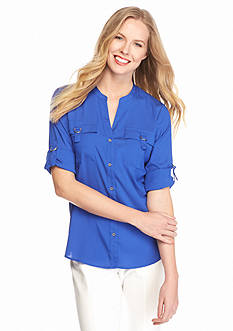 Calvin Klein D-Ring Roll Sleeve Blouse