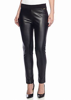 Calvin Klein Faux Leather and Knit Compression Legging