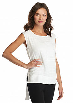 Calvin Klein Solid Texture High Low Blouse
