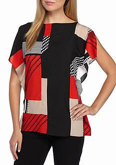 Calvin Klein Mix Print Split Sleeve Blouse