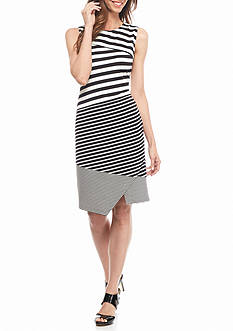 Calvin Klein Textured Mix Stripe Dress
