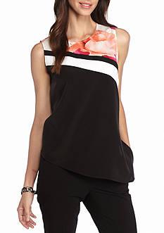 Calvin Klein Sleeveless Asymmetrical Print Top