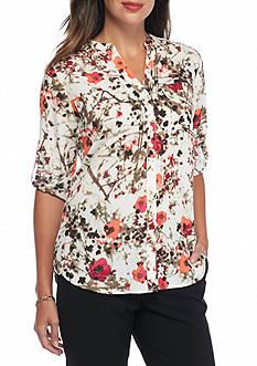 Calvin Klein Printed Rolled Sleeve Top