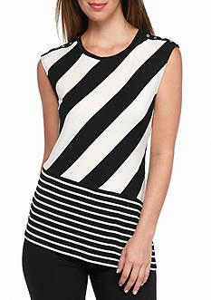 Calvin Klein Mix Stripe Angled Top