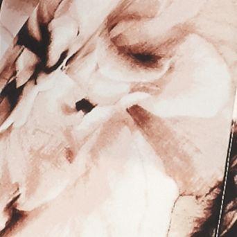 Women: Calvin Klein Tops: Latte Multi Calvin Klein Printed Rolled Sleeve Pocket Blouse