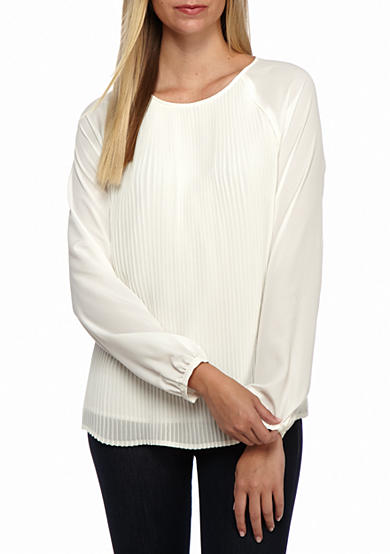 Calvin Klein Long Sleeve All Over Pleated Top