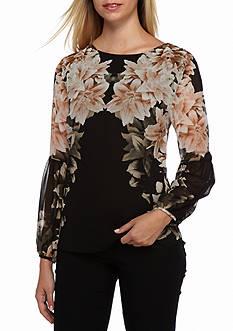 Calvin Klein Printed Peasant Blouse
