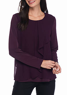 Calvin Klein Long Sleeve With Ruffle Front Top