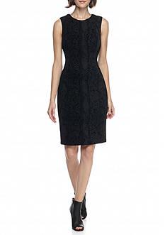Calvin Klein Flocked Scuba Sheath Dress