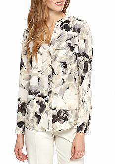 Calvin Klein Printed Roll Sleeve Top