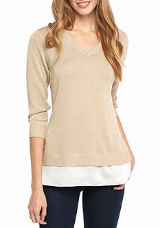 Calvin Klein V-Neck Sweater With Chiffon Hem