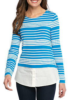 Calvin Klein Long Sleeve Stripe 2-Fer Top