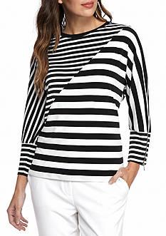 Calvin Klein Mixed Stripe Dolman Top