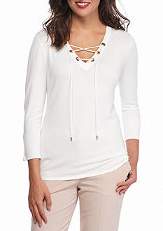 Calvin Klein Fine Gauge Lace Up Sweater