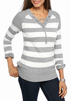 Calvin Klein Striped Lace Up Neck Sweater