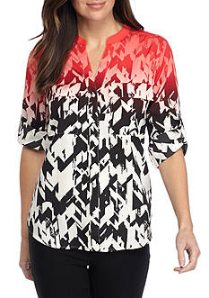 Calvin Klein Printed Roll Sleeve Blouse