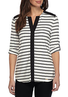 Calvin Klein Striped Roll Sleeve Top
