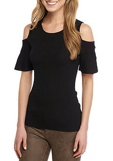 Calvin Klein Cold Shoulder Flutter Sleeve Sweater