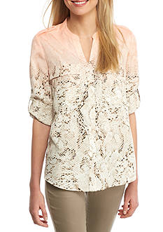Calvin Klein Printed Roll-Tab Sleeve Top