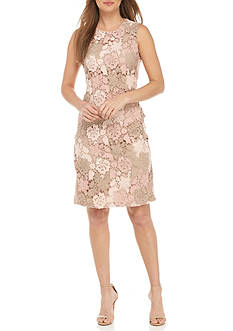 Calvin Klein Lace Sheath Dress with Scuba Panel