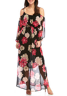 Calvin Klein Printed Cold Shoulder Maxi Dress