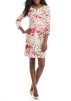 Calvin Klein 3/4 Sleeve Printed Dress