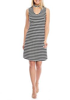 Calvin Klein Sleeveless Stripe Cutout Dress