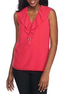 Calvin Klein Sleeveless V Neck Ruffle Collar Top