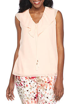Calvin Klein Sleeveless V Neck Ruffle Collar Top